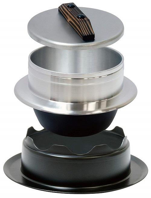 【ウルシヤマ金属工業社】謹製釜炊き三昧5合炊き 約径22.6×蓋含む高さ17cm