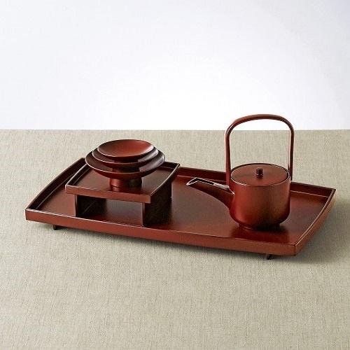 【石川県】手塗うるし胴張屠蘇器揃 盆(約39.8×22.8×高さ3.2cm)
