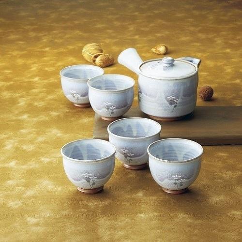 【山口県】(松尾邑華作)梅鉢草茶器揃 急須(約径10×蓋含む高さ11cm・350ml)