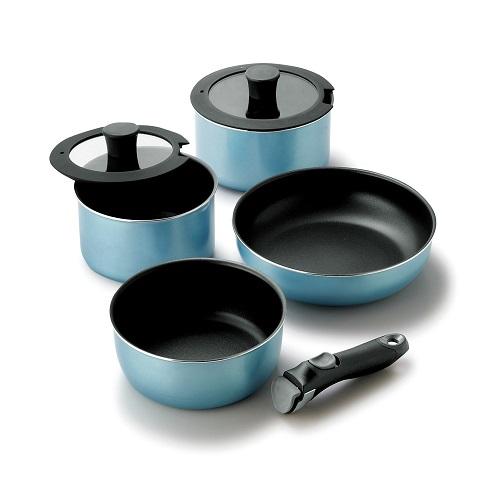 【タマハシ】着脱ハンドル鍋4点セット 鍋約径20×高さ9.5cm