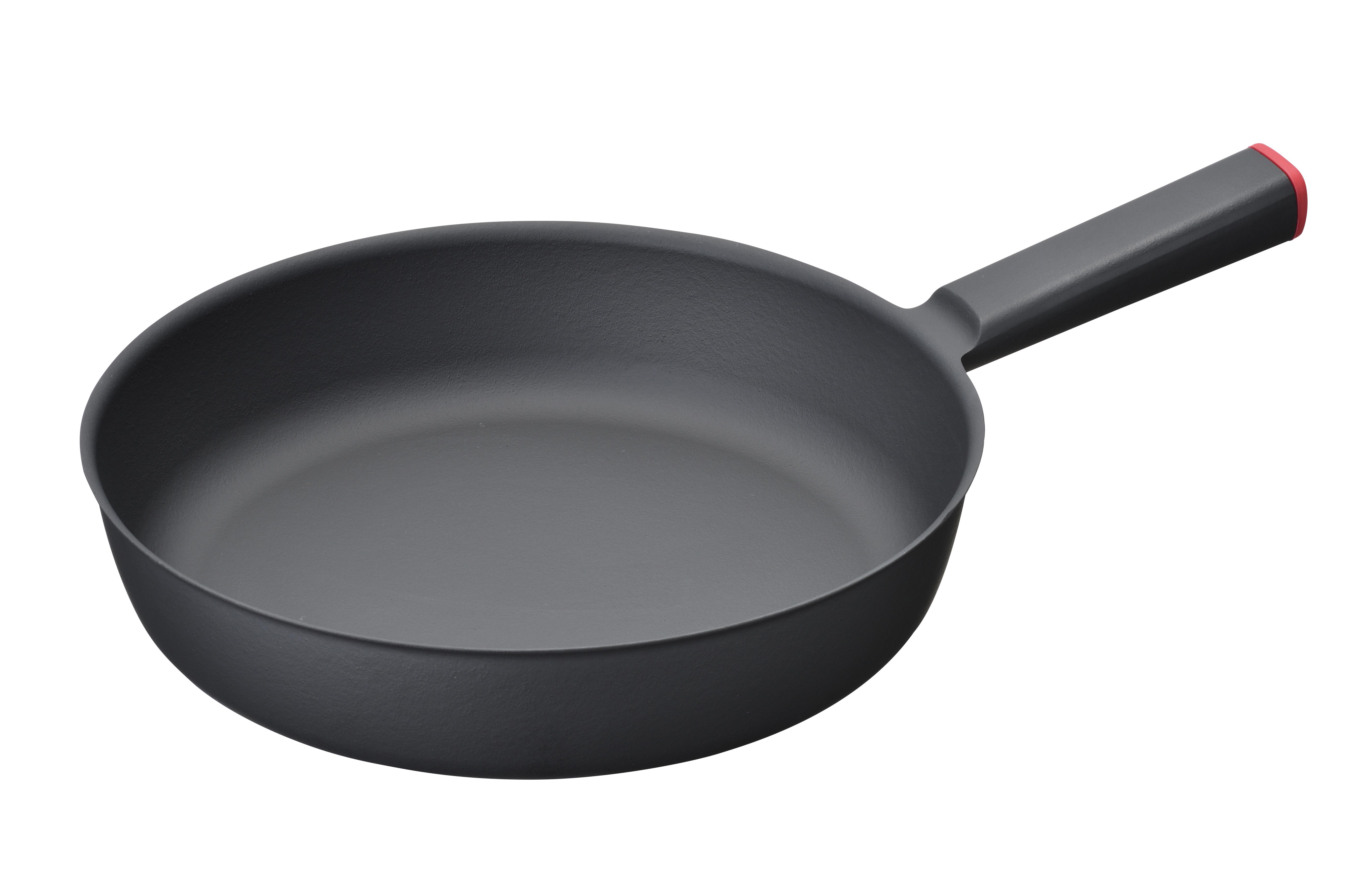 【三条特殊鋳工所】炒めやすく煮込みやすい鋳物フライパン 26センチ 約26×40cm・重量約1.1kg 赤