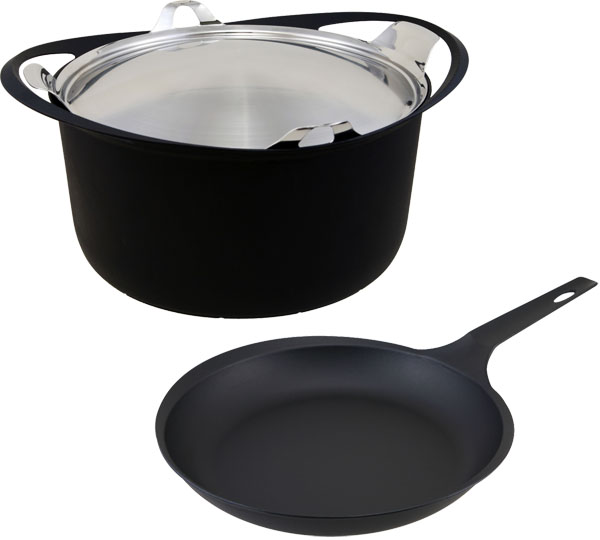 【KOMIN】鉄鋳物2点セット 両手鍋24cm・フライパン24cm