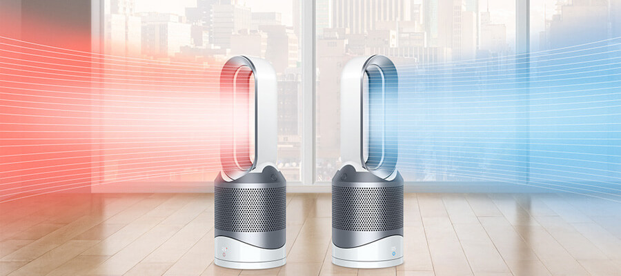 「Dyson Pure Hot+Cool Link」温風と涼風を発生している画像