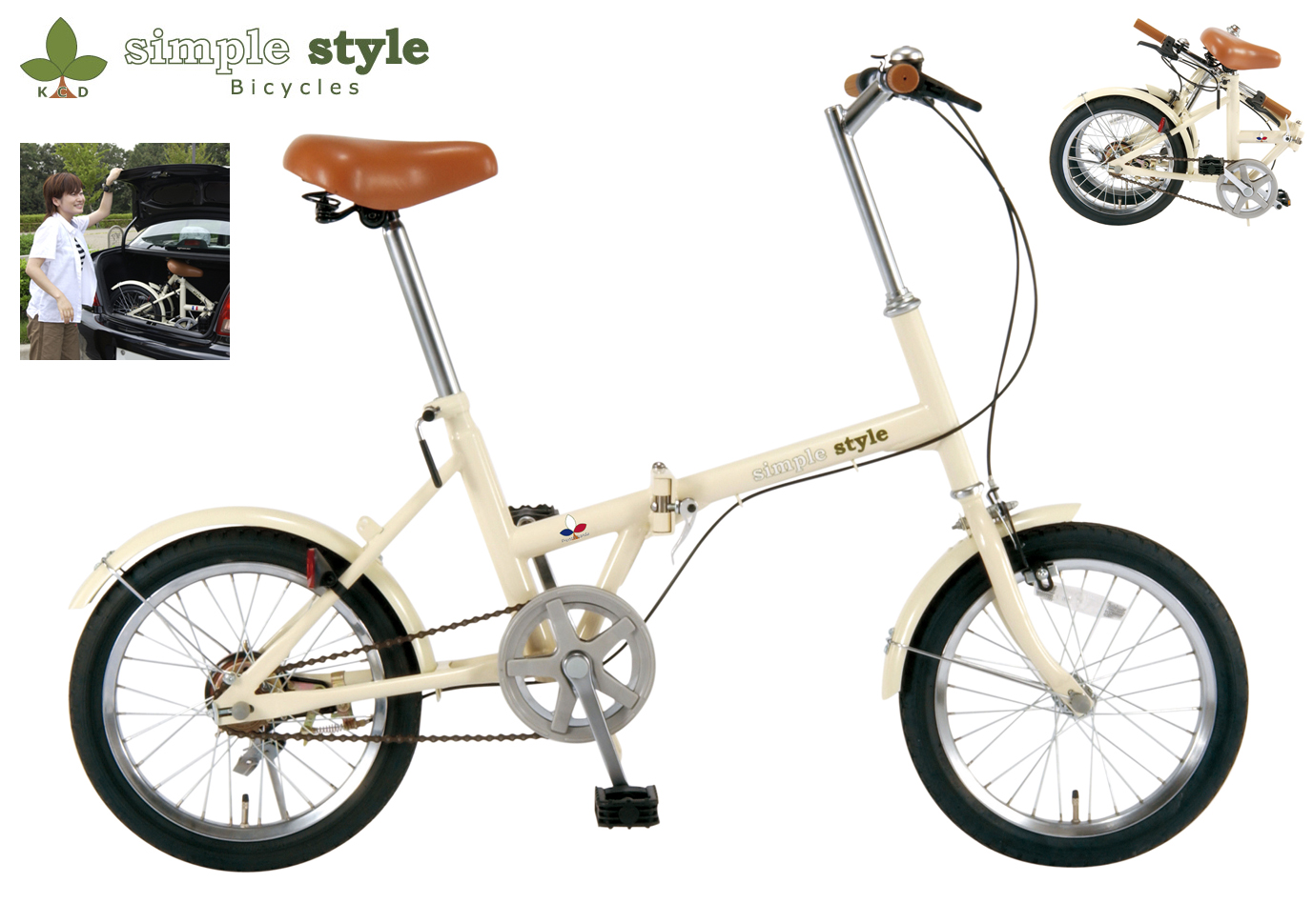 【KCD】16型折りたたみ自転車 シンプルスタイル 使用時/約135×53×高さ92cm アイボリー