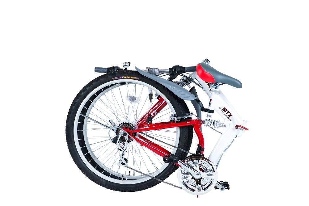 【KCD】26型折りたたみ自転車 スウィツスポート 使用時/約175×56.5×高さ100cm ホワイト×レッド
