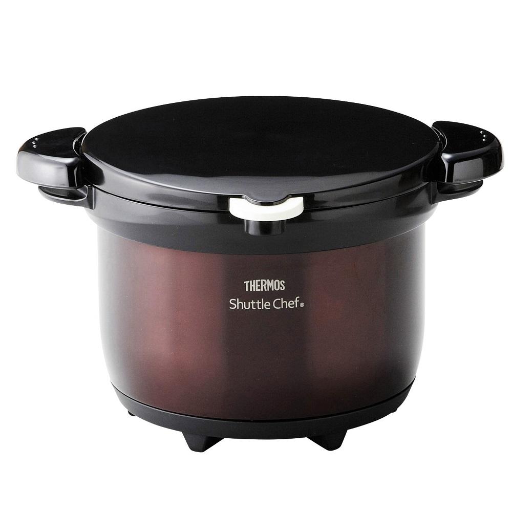 【サーモス】真空保温調理器シャトルシェフ 保温容器約31×26.5×19cm・調理鍋約径20×11cm クリアブラウン