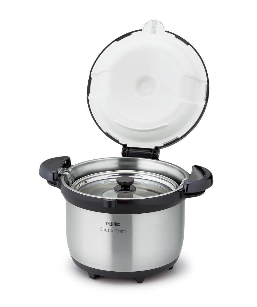 【サーモス】真空保温調理器シャトルシェフ 保温容器約31×26.5×19cm・調理鍋約径20×11cm クリアステンレス