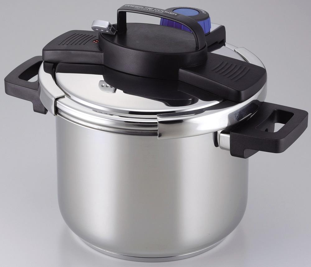 【パール金属】3層底ワンタッチレバー圧力鍋5.5L 約幅35×奥行き26×高さ24.5㎝ シルバー