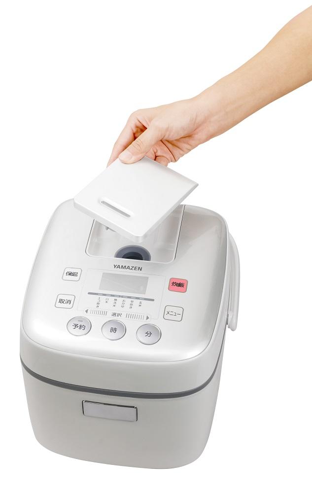 【YAMAZEN】マイコン炊飯器 ホワイト 3合(6種類炊き分け機能)