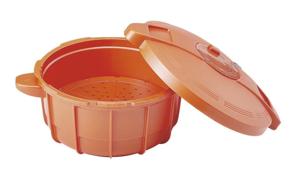 【MEYER(マイヤー)】電子レンジ圧力鍋2.3L 約径22×蓋含む高さ13.2cm・2.3L パンプキンオレンジ