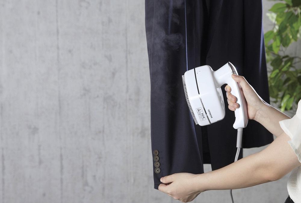【日立】衣類スチーマー 収納時/約幅18×奥10×高さ15.5cm ホワイト