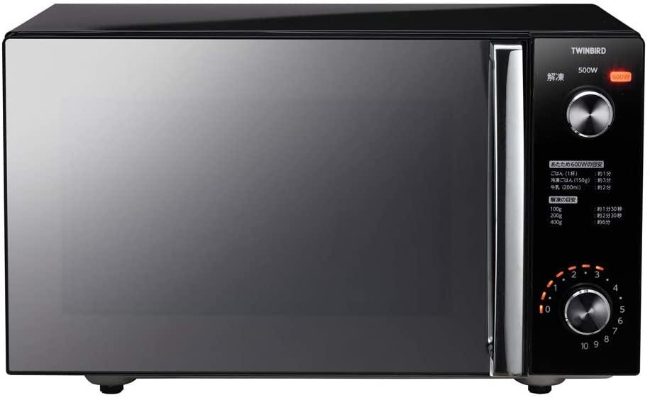 【ツインバード工業】ミラーガラスフラット電子レンジ 約幅46×奥35×高さ27.5cm  ブラック