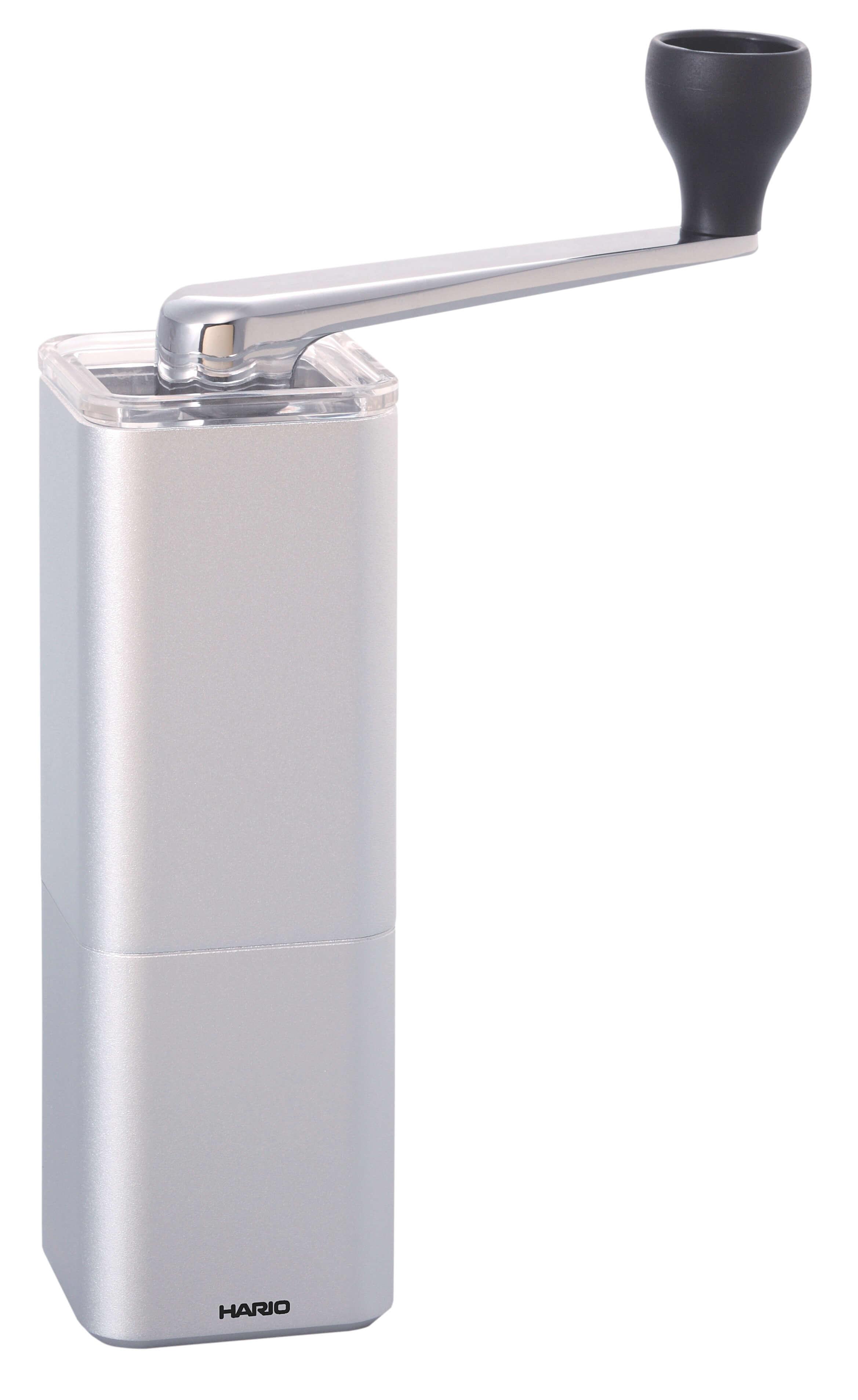 【HARIO】アルミ合金コーヒーミル・プリズム 約幅14.5×奥5.2×高さ20cm シルバー