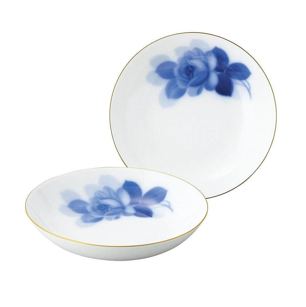 【大倉陶園】大倉陶園 ブルーローズ スープ皿ペアセット