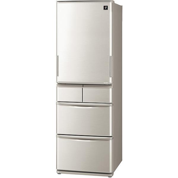 【標準設置工事付】シャープ プラズマクラスター冷蔵庫 (412L ・どっちもドア)5ドア シルバー系SJ-W412F-S