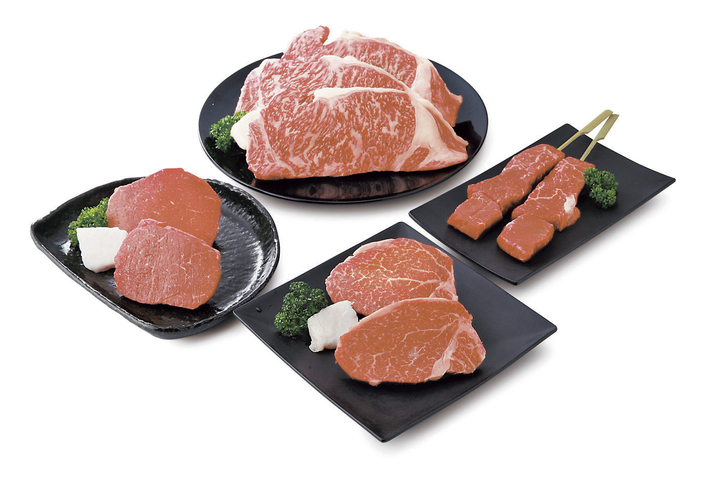 【山形県】米沢牛 ステーキセット サーロイン200g・ヒレ100g・ランプ100g各2枚、串ステーキ(モモ・バラ)100g×2本