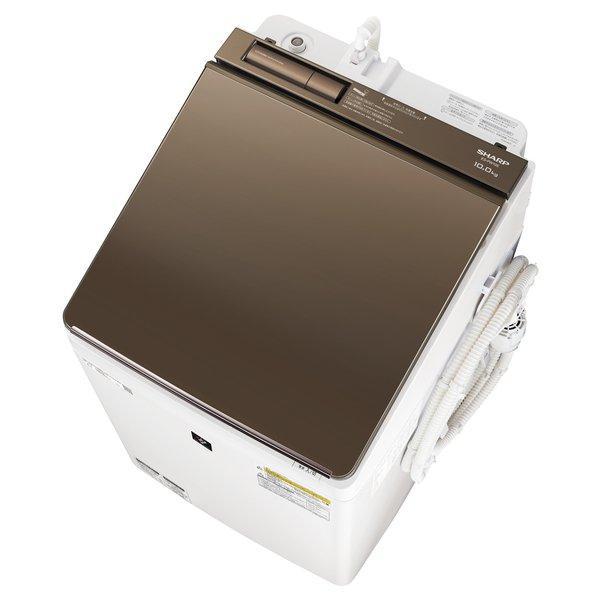 【配送設置込】シャープ ES-PW10E-T [縦型洗濯乾燥機 洗濯10.0kg/乾燥5.0kg ブラウン系]