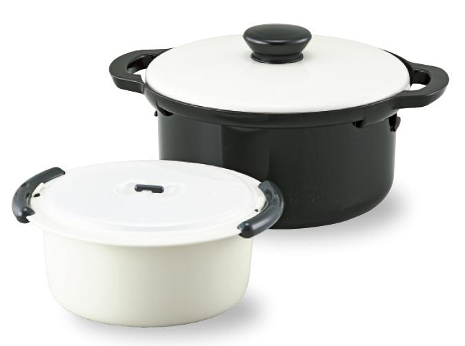 【曙産業】レンジでかんたんエコ調理鍋 約径24.5×蓋含む高さ16.1cm