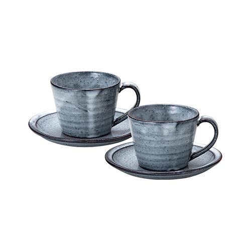 萩焼 青釉珈琲碗皿ペア 【日本製】
