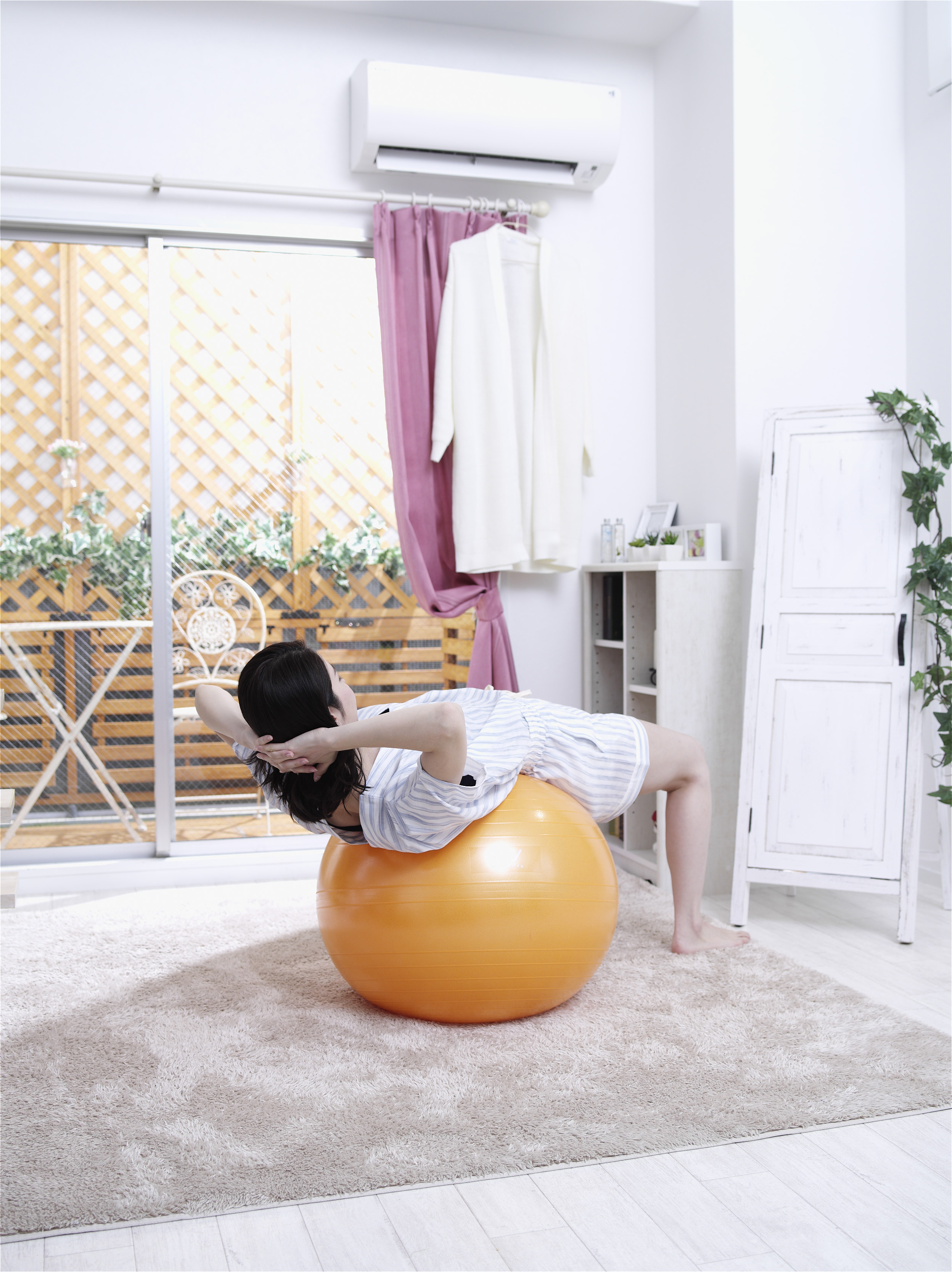 【アルインコ】エクササイズボール 55cm 球径約55cm オレンジ