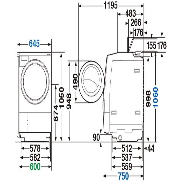 【標準設置工事付】東芝 TW-127X9R(T) ドラム式洗濯乾燥機 ZABOON 右開き グレインブラウン