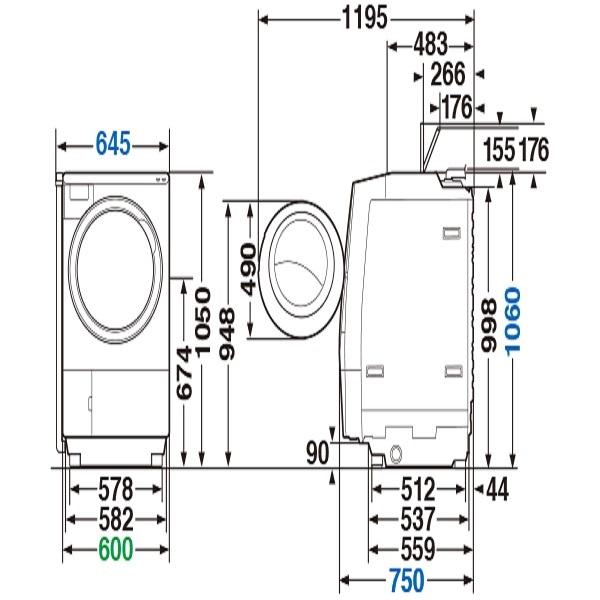 【標準設置工事付】東芝 TW-127X9R(W)ドラム式洗濯乾燥機 ZABOON 右開き グランホワイト