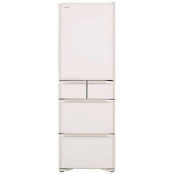 【標準設置工事付】日立 R-S40N XW 冷蔵庫 (401L・右開き) 5ドア クリスタルホワイト