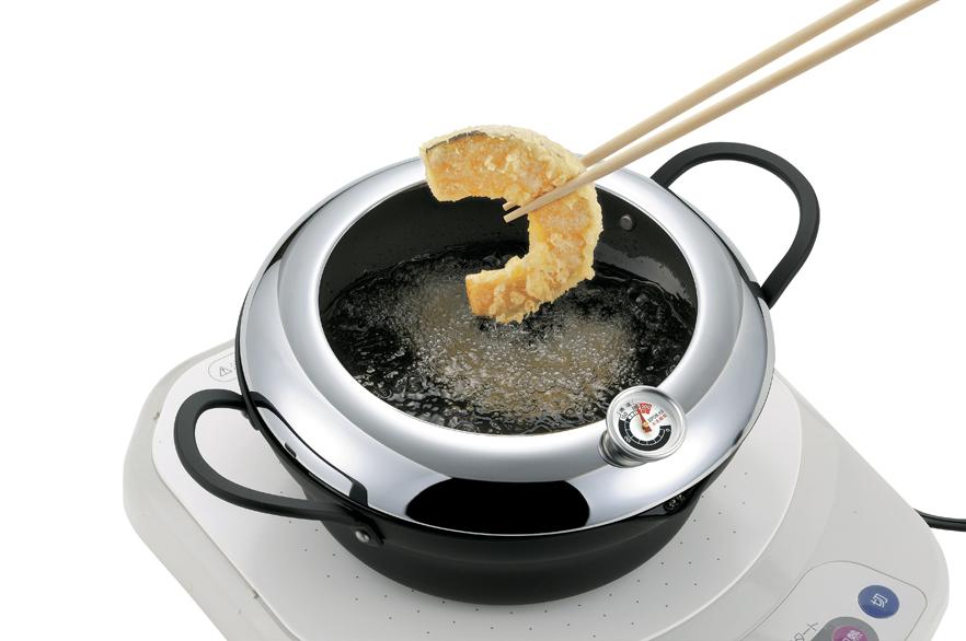 【タマハシ】温度計付天ぷら鍋24cm 約径24×高さ8.7cm・適正油量1.4L・重量約1.1kg