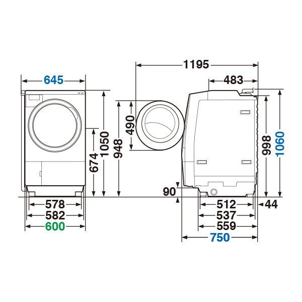 【標準設置工事付】東芝 TW-117V9L(W) [ドラム式洗濯乾燥機 ZABOON左開き グランホワイト]