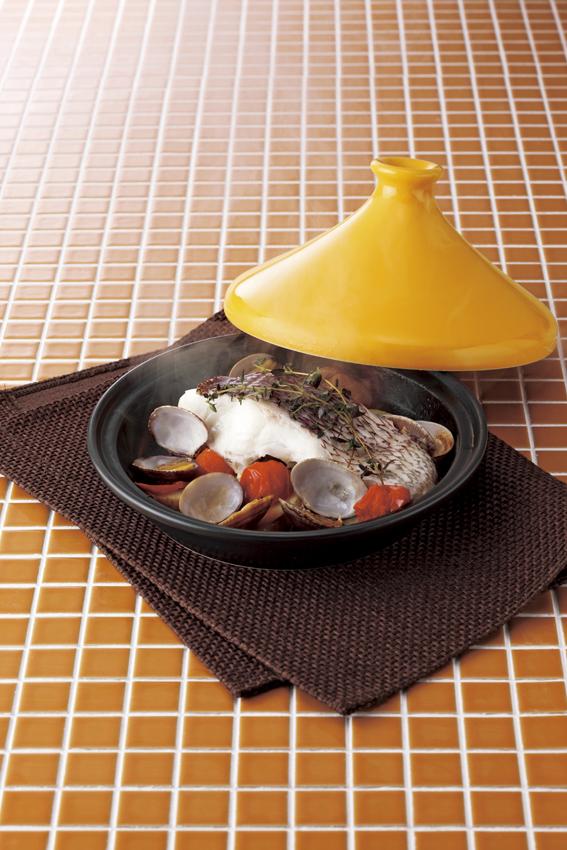 【前畑】キッチンスタイルナビ タジン鍋 約径20×蓋含む高さ12.5cm・400ml オレンジ
