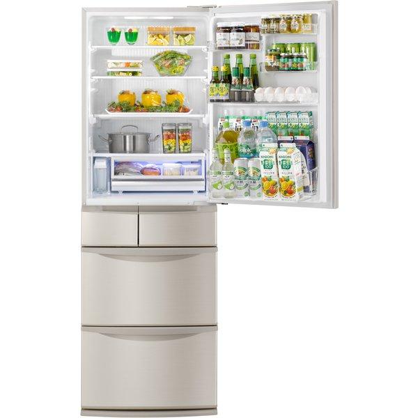 【標準設置工事付】パナソニック NR-E416V-N [パーシャル冷蔵庫(406L・右開き) 5ドア シャンパン]