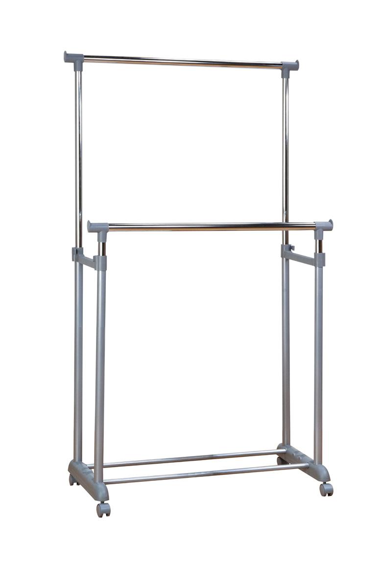 【大竹産業】コートハンガーダブル 約84×44×高さ100~170cm グレー