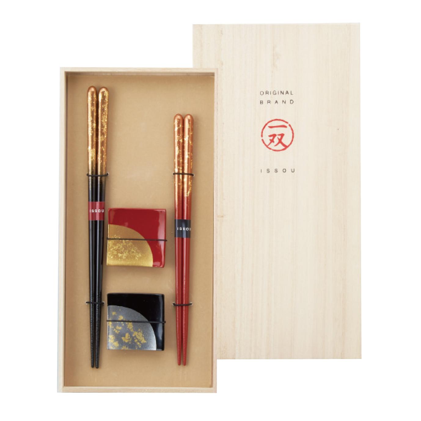 【イシダ】瑞雲&箸置箔ちらし2P 箸黒・朱各1、箸置×2