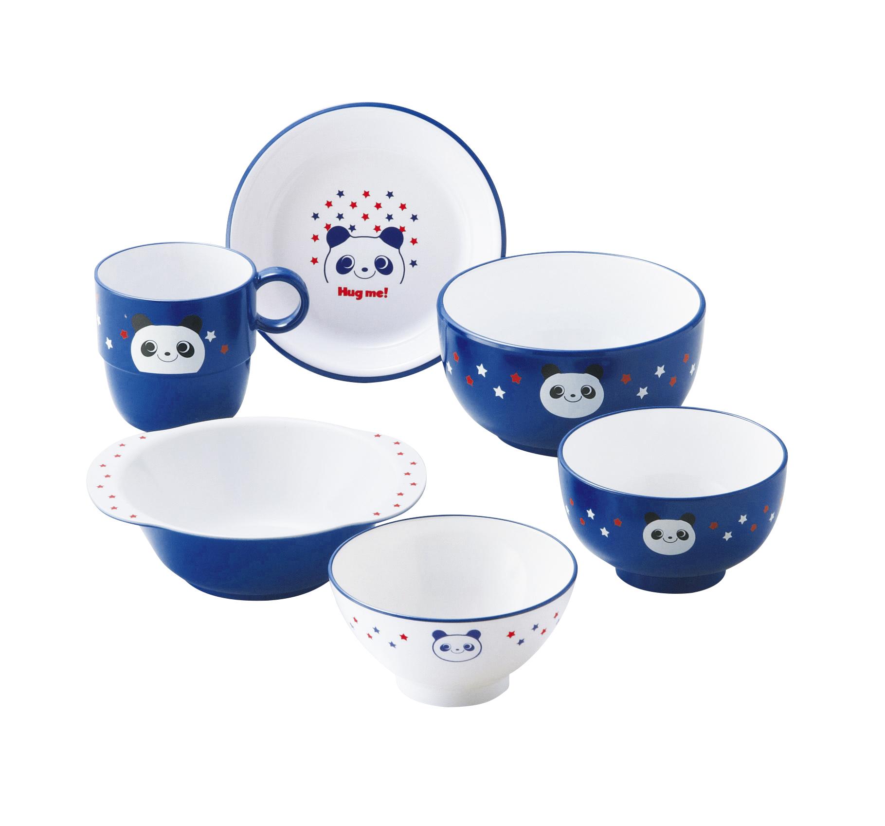 【有限会社ミタニ】ハグミー6点セット 茶椀・汁椀・小丼・コップ・スナックプレート・スナック小鉢各1 ブルー