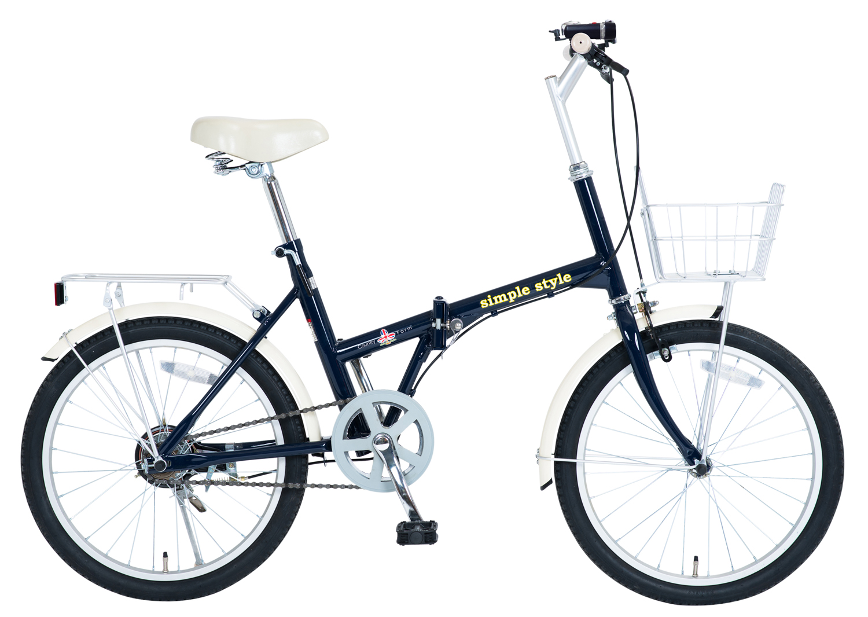 【KCD】シンプルスタイル 20型折たたみ自転車 LEDライト・カギ付 使用時/約143×53×高さ101cm ネイビー