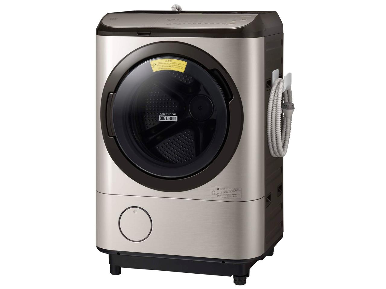 【標準設置対応付】日立 ドラム式洗濯乾燥機 洗濯12kg/乾燥7kg 左開き ステンレスシャンパンBD-NX120FL N