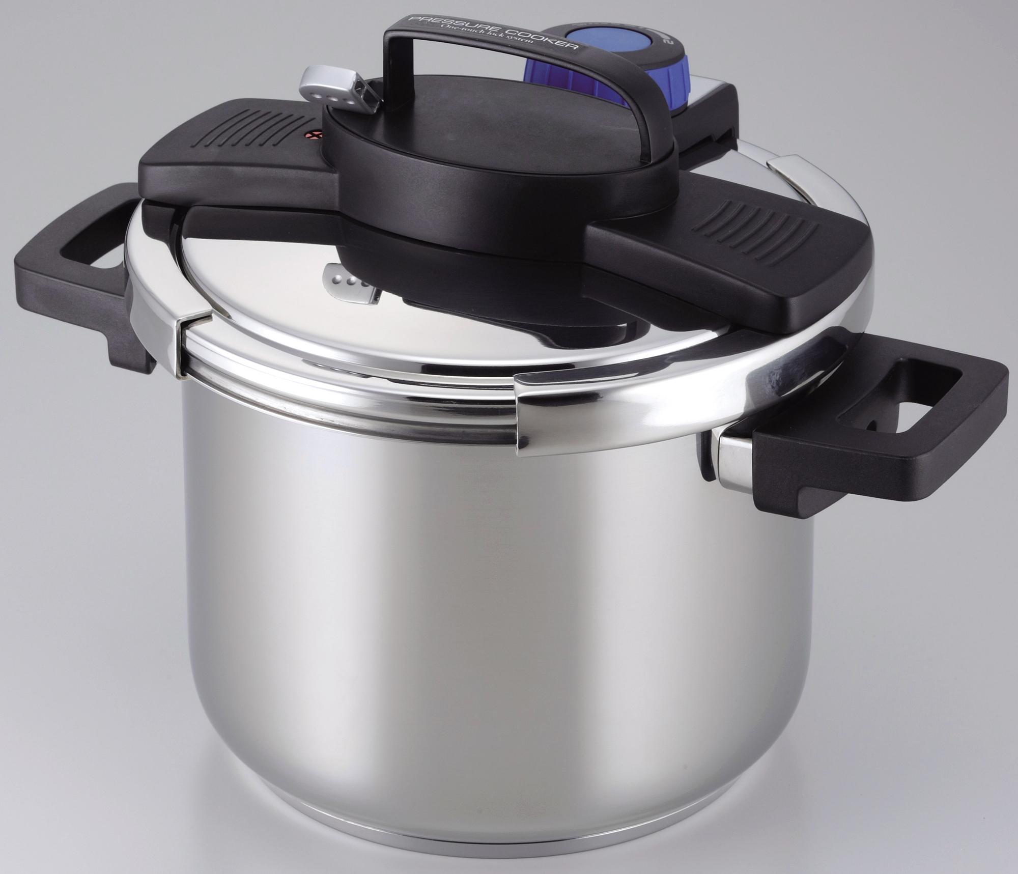 【パール金属】3層底ワンタッチレバー圧力鍋5.5L 約幅35×奥行26×高さ15.8cm シルバー