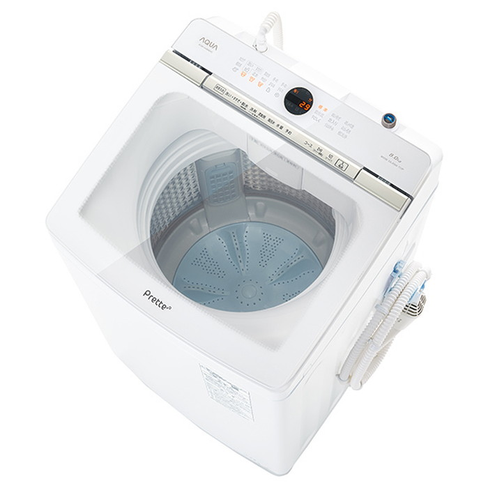 【標準設置対応付】AQUA AQW-VA8M(W) Prette プレッテ 簡易乾燥機能付き洗濯機 8.0kg
