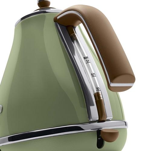 【デロンギ】アイコナ・ヴィンテージ コレクション 電気ケトル 幅210×奥165×高さ235mm オリーブグリーン