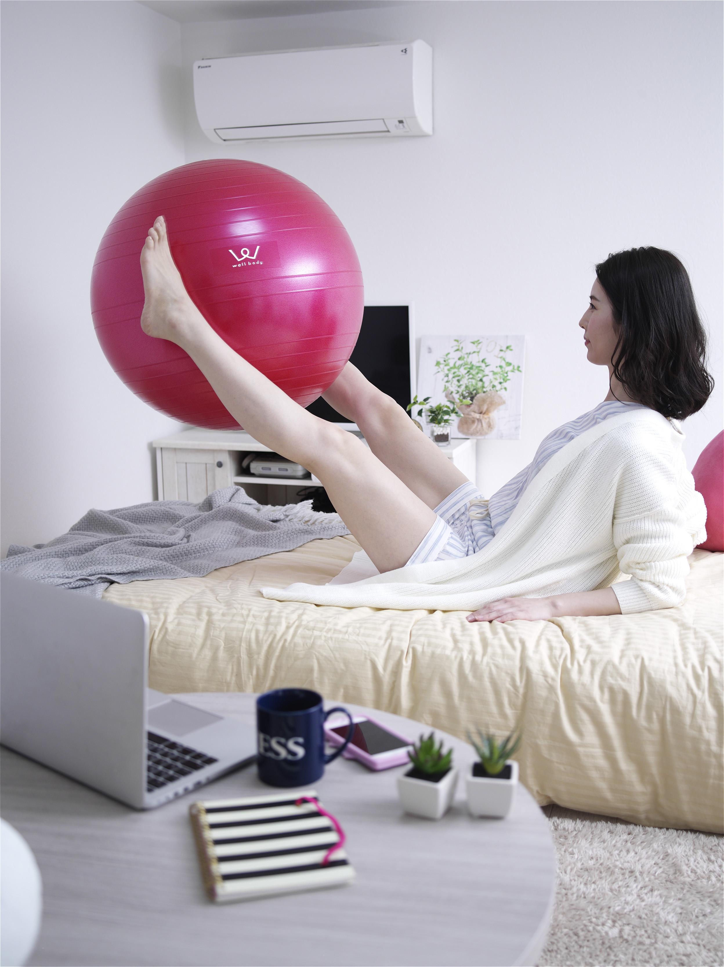 【アルインコ】エクササイズボール 55cm ピンク