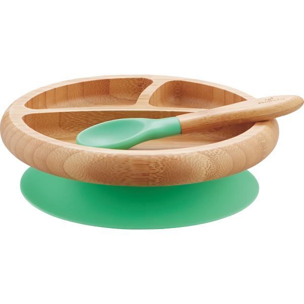 Avanchy竹のプレート+スプーンセットとクリスタルビブ