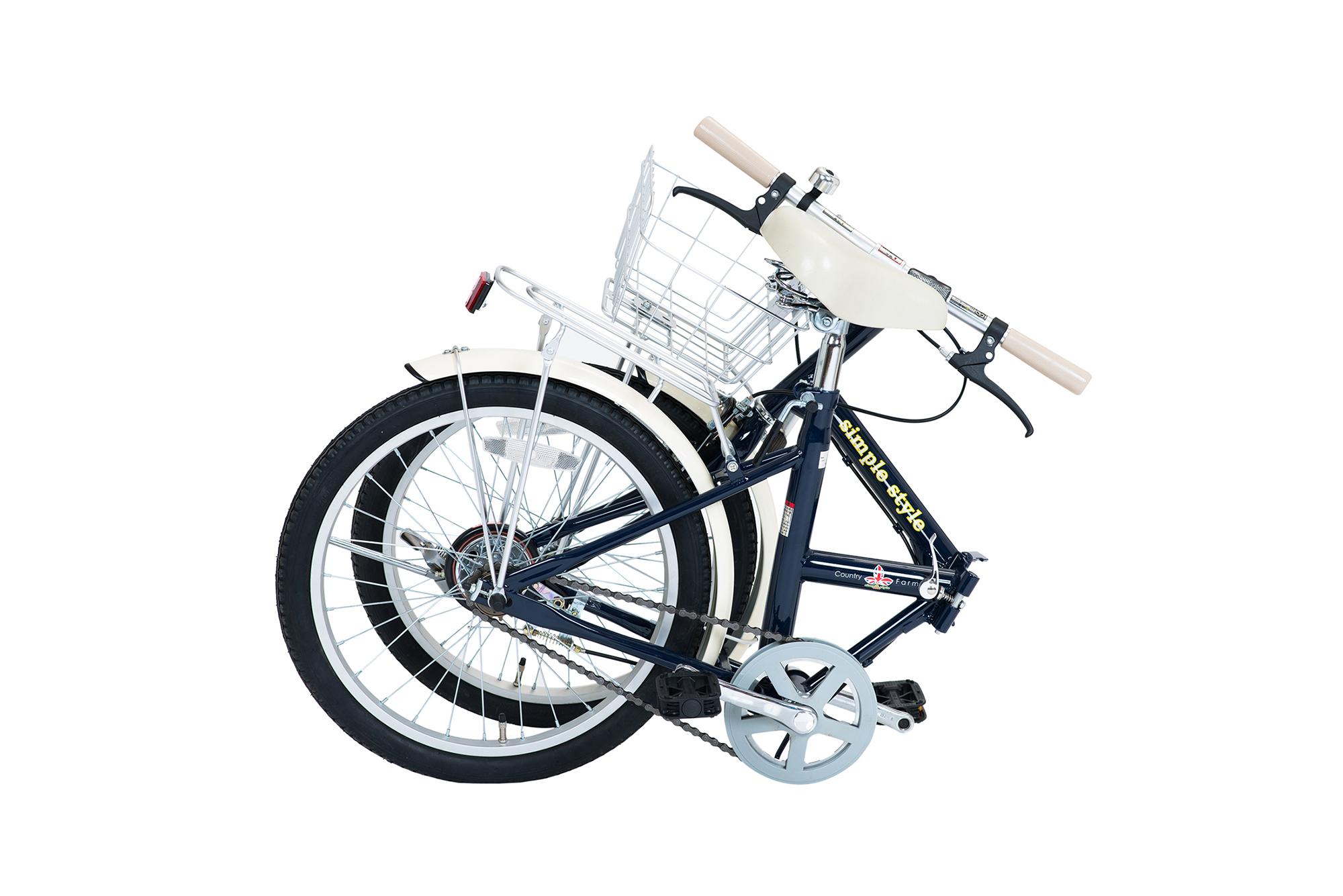 【KCD】シンプルスタイル 20型折たたみ自転車 LEDライト・カギ付 ネイビー