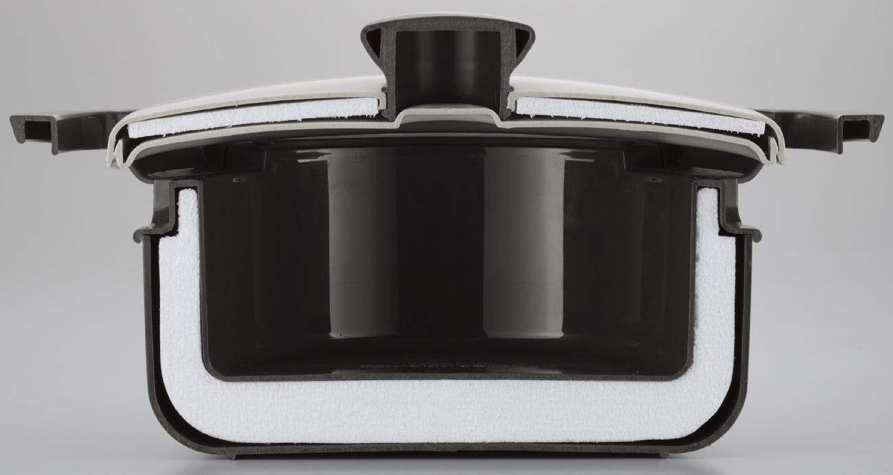 レンジでかんたんエコ調理鍋 ホワイト×ブラック
