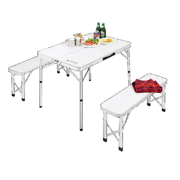【キャプテンスタッグ】ラフォーレ ベンチインテーブルセット テーブル:使用時/約90×62×高さ70・38cm 大理石調