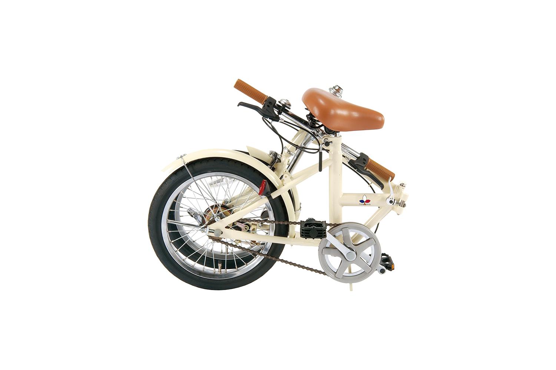 【KCD】16型折りたたみ自転車 シンプルスタイル アイボリー