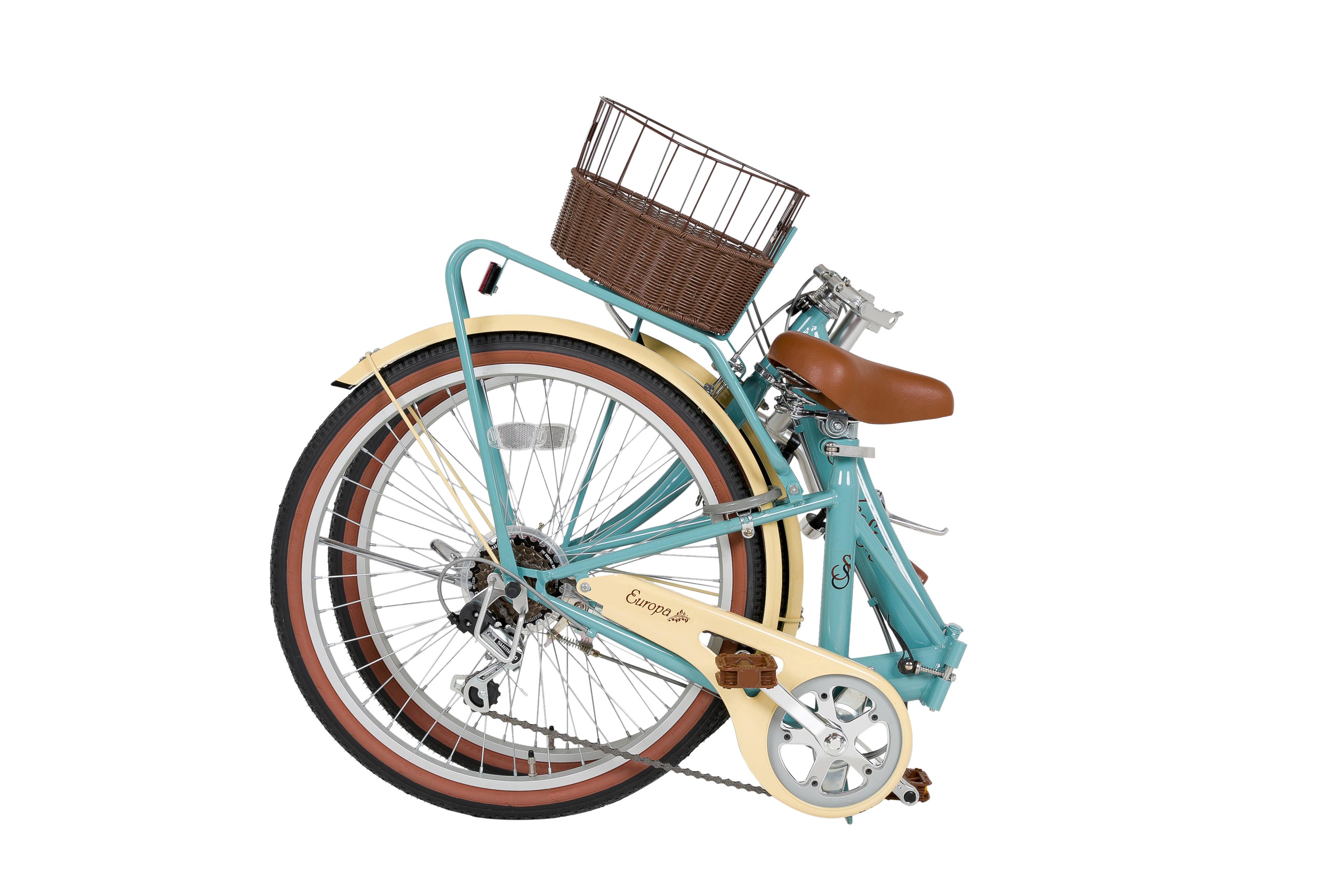 【KCD】24型低床フレーム折畳自転車 シンプルスタイル グレイブルー