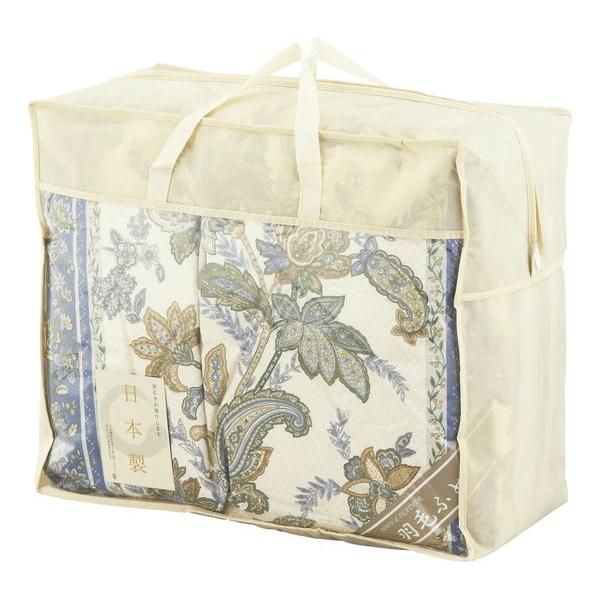 【大阪府】日本製 羽毛合い掛け布団 約150×210cm ブルー