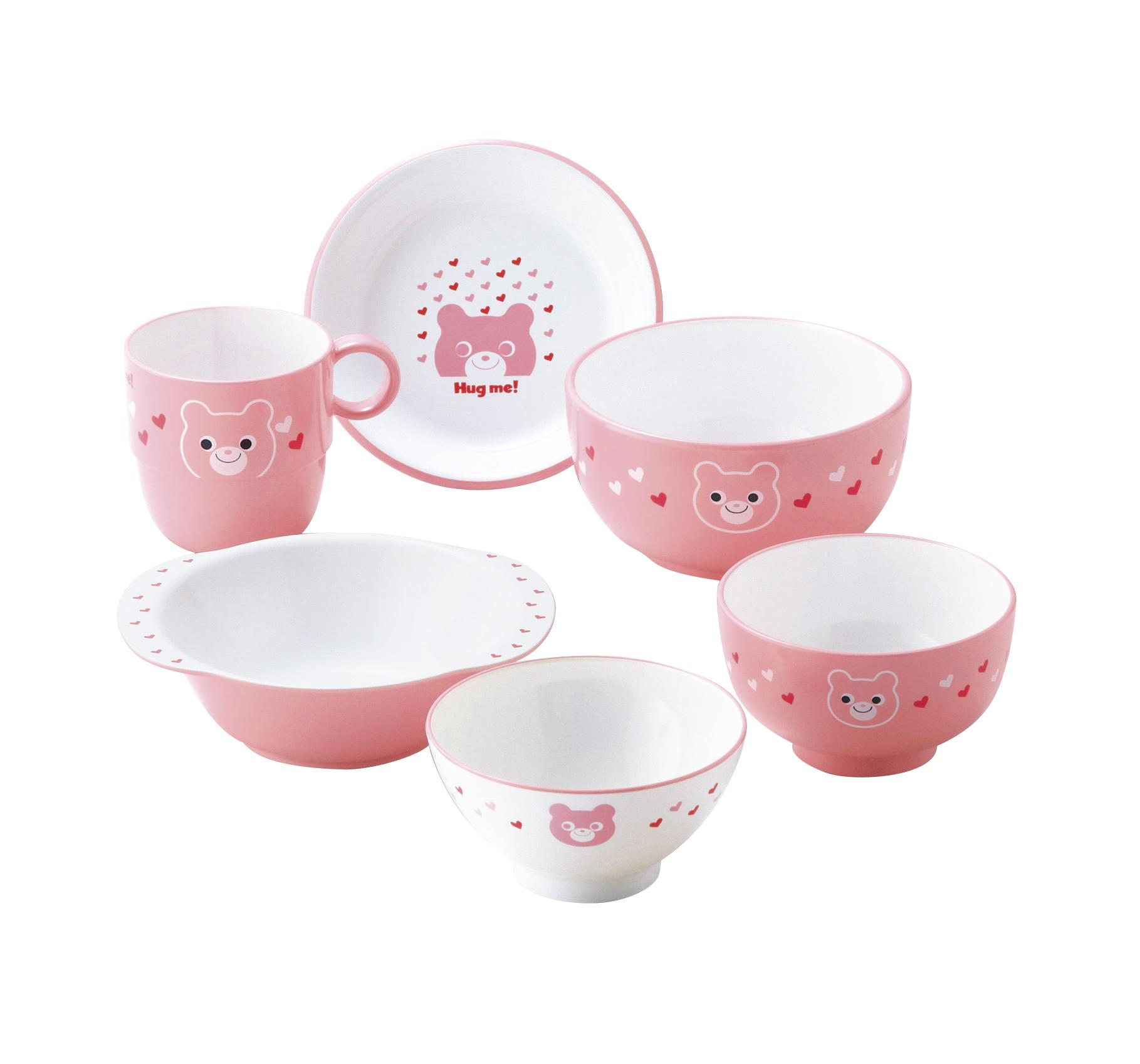 【有限会社ミタニ】ハグミー6点セット 茶椀・汁椀・小丼・コップ・スナックプレート・スナック小鉢各1 ピンク