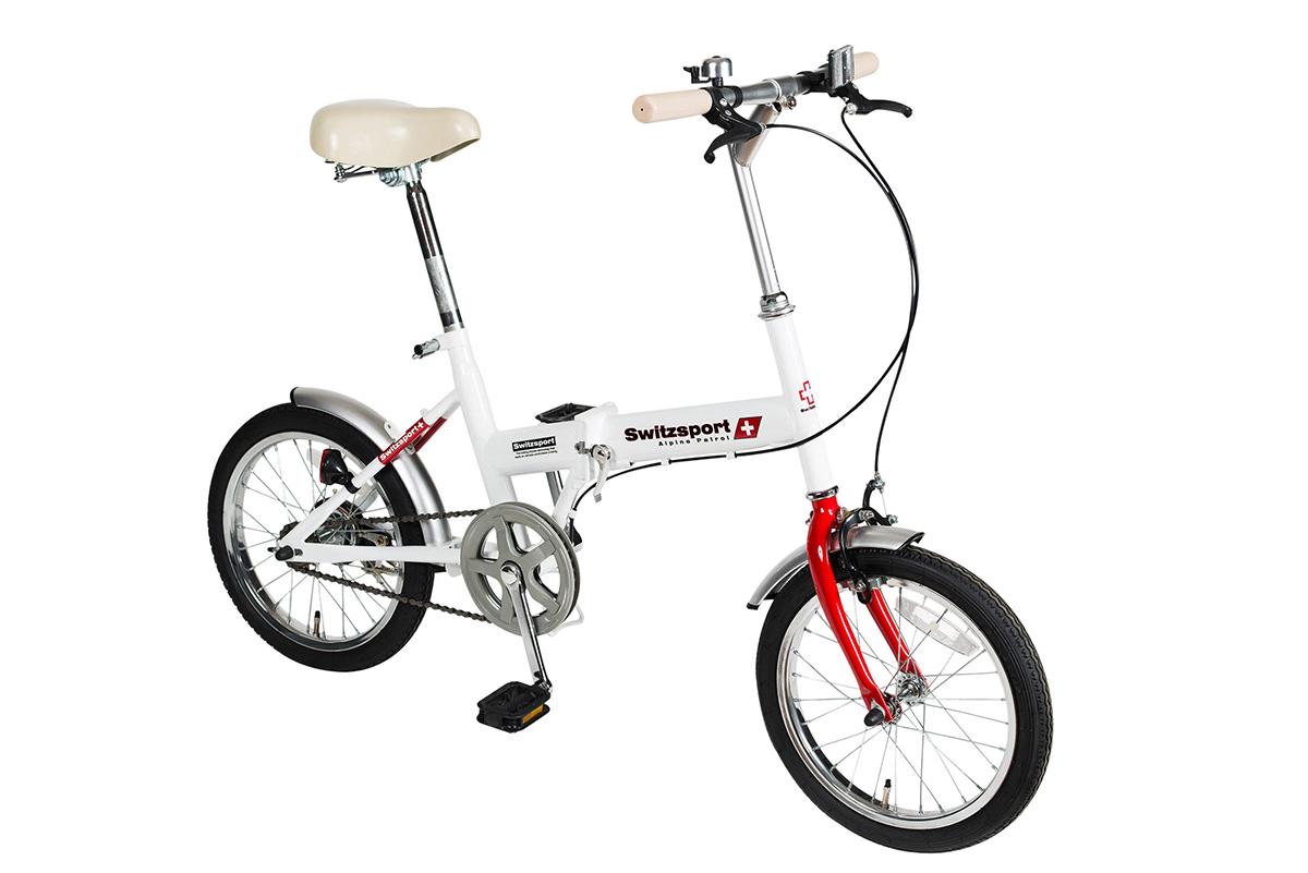 【KCD】スウィツスポート 16型折畳自転車 使用時/約135×53×高さ92cm ホワイト×レッド