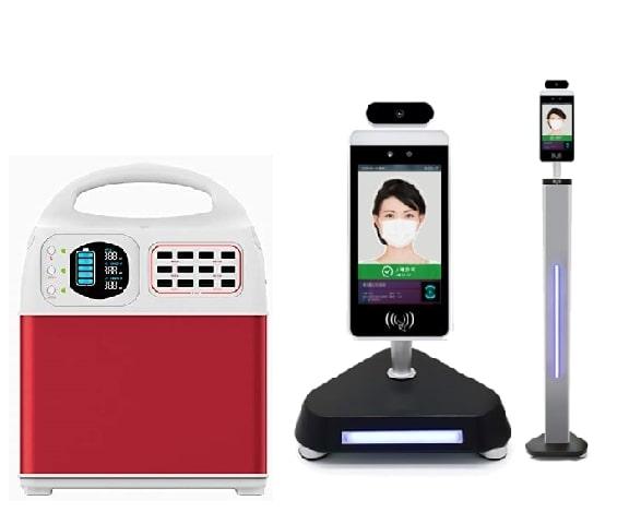 ポータブル蓄電池 +Clear 検温カメラ卓上スタンドセット